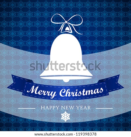 blue winter background with bell and ribbon. christmas card. - stock vector