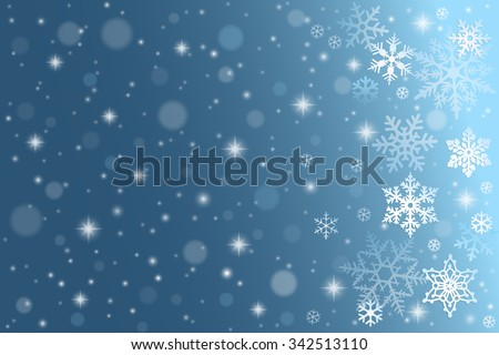 Blue winter background with falling snowflakes - stock vector