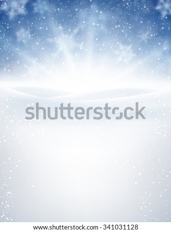 Blue winter background with snowflakes. Vector illustration. - stock vector