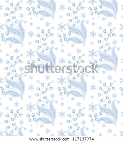 blue winter flower with some snow on white background-seamless