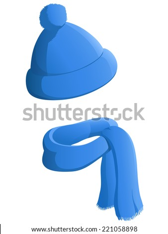 Blue winter hat with scarf isolated on white background. Vector illustration. - stock vector