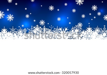 Blue winter or Christmas background with abstract snowflakes and place for your message - vector illustration - stock vector