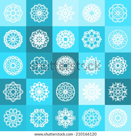 Blue winter ornamental background with squares. Vector illustration - stock vector