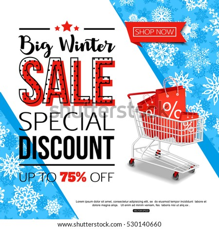 Blue Winter Sale Banner with Shopping Cart. Vector illustration