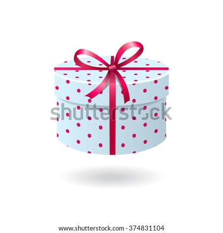 Blue with pink spots gift box isolated on white background - stock vector