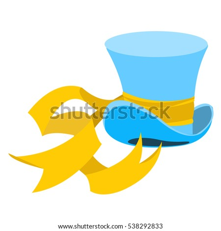 blue wizard hat long yellow ribbon stock vector 538292833