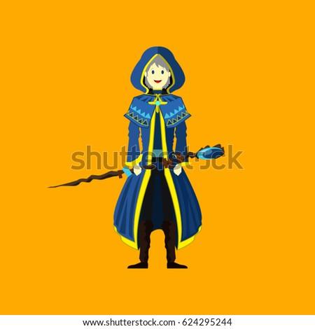 blue wizard staff character design vector stock vector 624295244