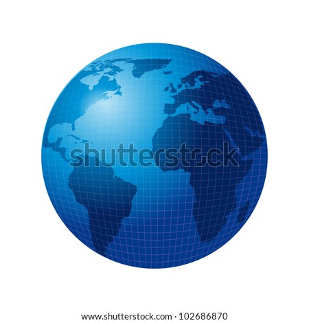 blue world isolated over white background. vector illustration