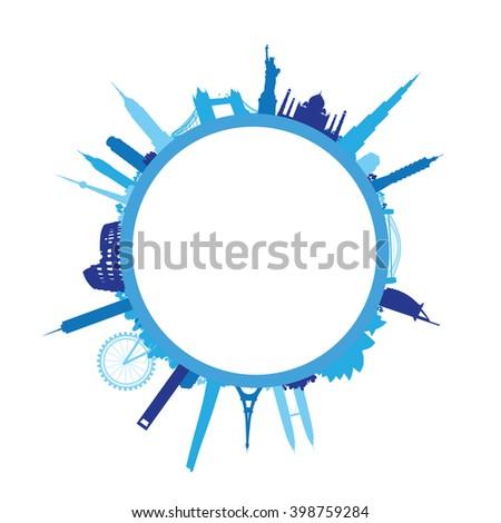 blue world landscape cityscape - stock vector