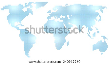 blue world map - stock vector