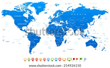 Blue World Map and navigation icons - illustration Highly detailed world map: countries, cities, water objects  - stock vector