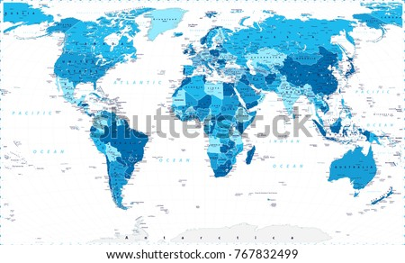 Blue world map large detailed world vectores en stock 767832499 blue world map large detailed world map vector illustration gumiabroncs Image collections
