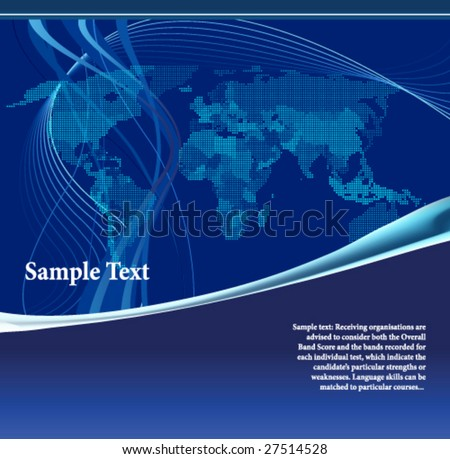 Blue world map made up of dots. All elements and textures are individual objects. Vector illustration scale to any size. - stock vector