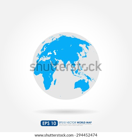 Blue world map on the globe - stock vector