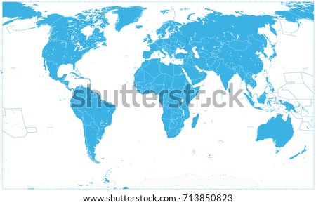 Blue World Map On White. No text. World Map vector illustration.
