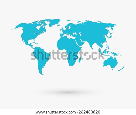Blue world map shape. Travel globe, cartography, asia and africa, europe. Vector illustration - stock vector