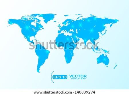 blue world map shape with star and spot lights effect sample - stock vector