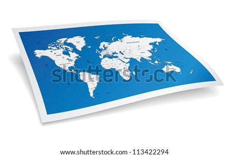 Blue world map. Vector illustration. - stock vector