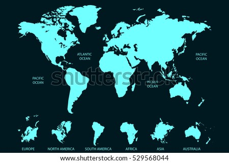 Blue world map vector on dark background. Continents and oceans. Europe. Asia. North America. South America. Africa. Australia.
