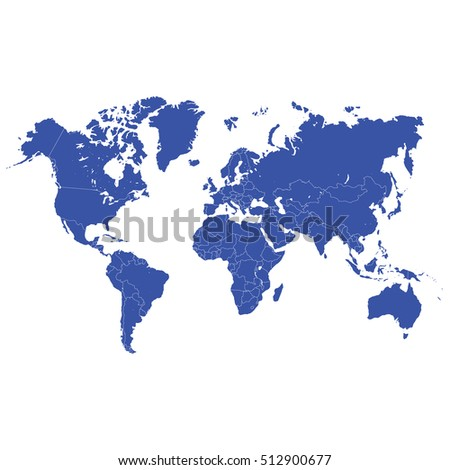 Blue world map vector on white background.