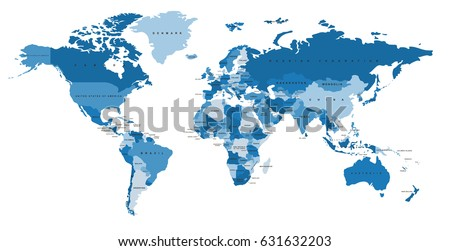 Blue world map names countries political vector de stock631632203 blue world map with the names of countries political map every country is isolated gumiabroncs Choice Image