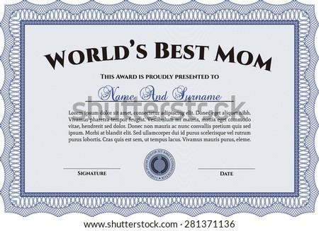 Blue Worlds Best Mom Template Stock Vector (2018) 281371136 ...