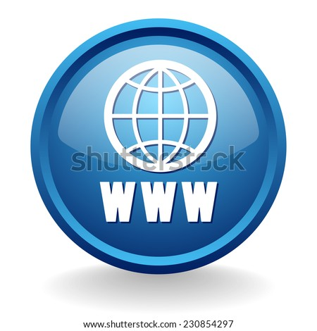 Blue world wide web button on white background