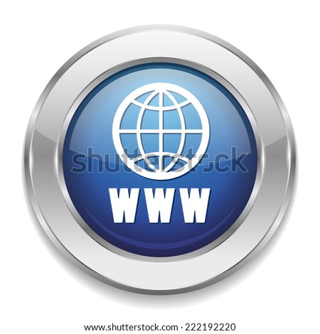 Blue world wide web button with metallic border on white background