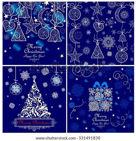 Blue xmas greeting cards - stock vector