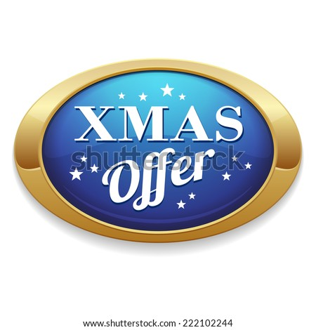 Blue xmas offer button with gold border on white background - stock vector