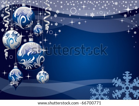 blue xmas vector greeting card - stock vector