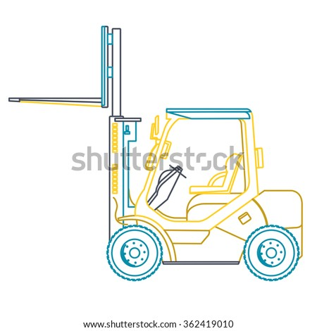 Blue yellow outline fork lift loader. Loading of goods. Professional illustration for net banner poster or icon. Flatten symbol illustration master vector Truck Digger Crane Small Bagger - stock vector