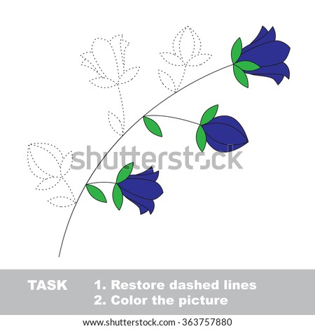 bluebell flower in vector colorful to be traced restore dashed line and color the picture