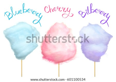 Blueberry, cherry and bilberry cotton candy of blue, pink and purple colors isolated on white background with signs. Summer snack in parks. Delicious and sweet street food vector illustration.