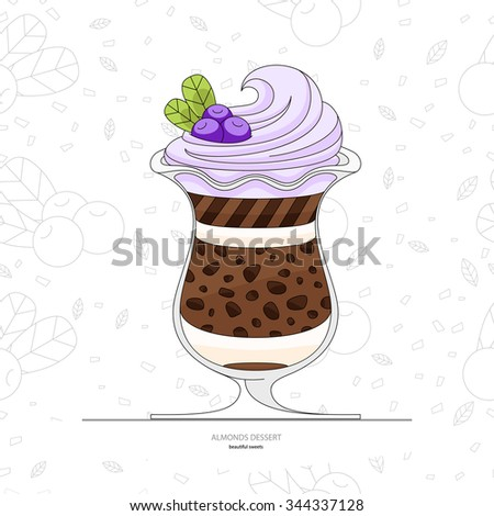 Blueberry dessert with cream. Seamless background of cake pieces. Ice cream with blueberries and whipped cream. Natural yogurt with berries. Flat style. - stock vector