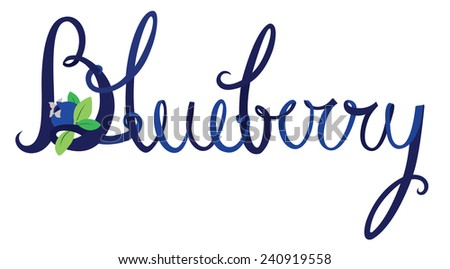 Blueberry lettering - stock vector