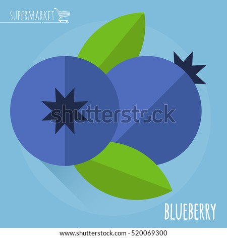 Blueberry.  Long shadow flat design vector icon.