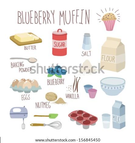 blueberry muffin recipe - stock vector