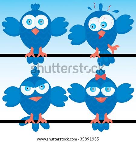 Bluebirds icon set. Vector illustration. - stock vector