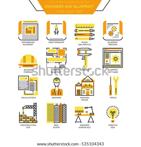Blueprint engineer line icon color set stock vector 535104343 blueprint and engineer line icon color set draftmanship tools for engineering software and malvernweather Images