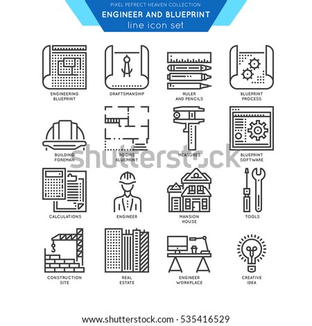 Blueprint engineer line icon set draftmanship vector de blueprint and engineer line icon set draftmanship tools for engineering software and workplace malvernweather Choice Image