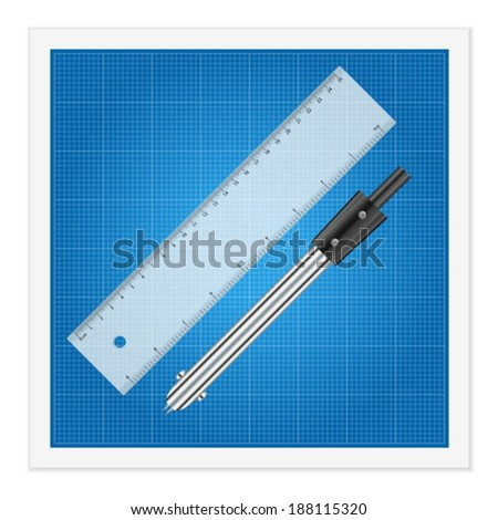 Blueprint and ruler instruments on a white background.