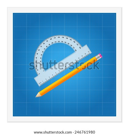 Blueprint and ruler instruments on a white background. - stock vector