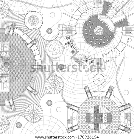 Blueprint. Architectural background. - stock vector