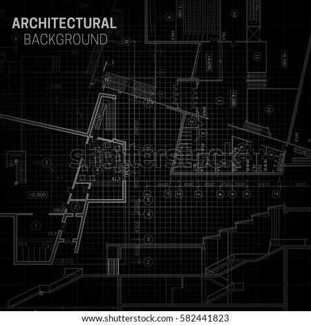 Blueprint architectural drawing on black background stock vector blueprint architectural drawing on black background malvernweather Images