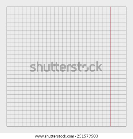 Blueprint background texture with red stripe. Vector technical paper