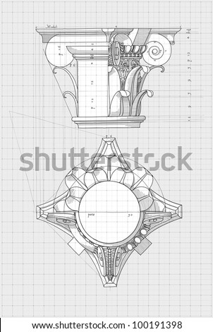 """Blueprint - chapiter- hand draw sketch composite architectural order based """"The Five Orders of Architecture"""" is a book on architecture by Giacomo Barozzi da Vignola from 1593. Vector illustration. - stock vector"""
