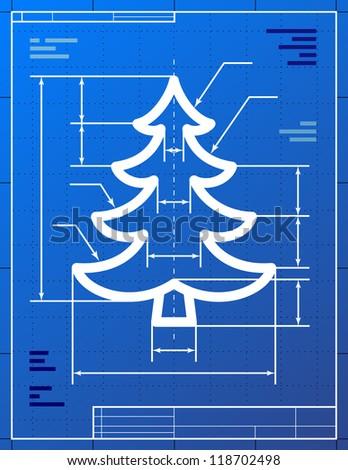 Blueprint drawing of christmas tree. Vector illustration of pine symbol - stock vector