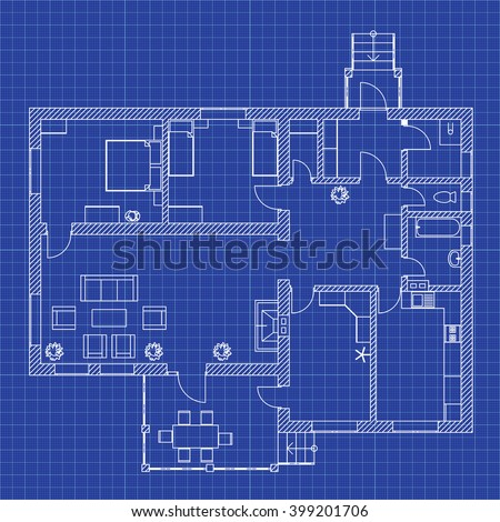 Blueprint floor plan modern apartment on stock vector 399201706 blueprint floor plan of a modern apartment on graph paper vector house interior architectural malvernweather Images