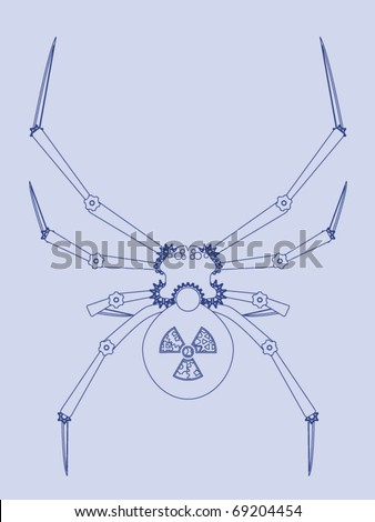 Blueprint black widow spider robot stock vector 69204454 shutterstock blueprint for a black widow spider robot malvernweather Images
